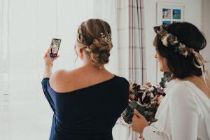 Bride FaceTiming mum
