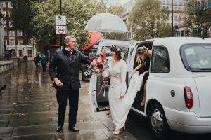 Bride arrives at wedding venue