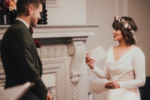 Bride gets emotional when reading out vows