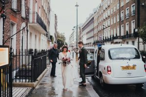 Bride and groom arriving at Zettor Townhouse
