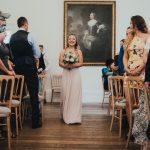 bridesmaid walking down aisle