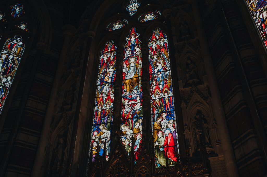 stained glass window of chapel