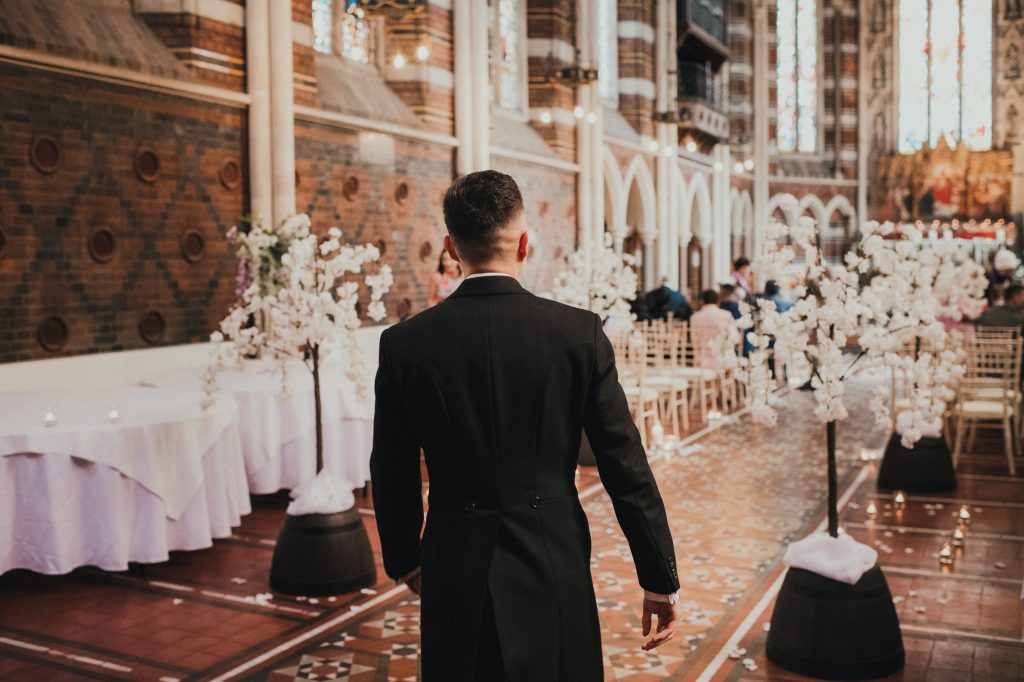 groom arrives at wedding ceremony