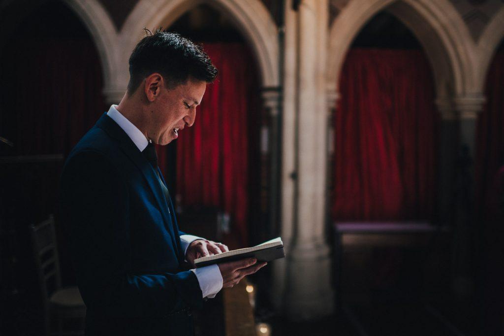 preacher leading the wedding ceremony