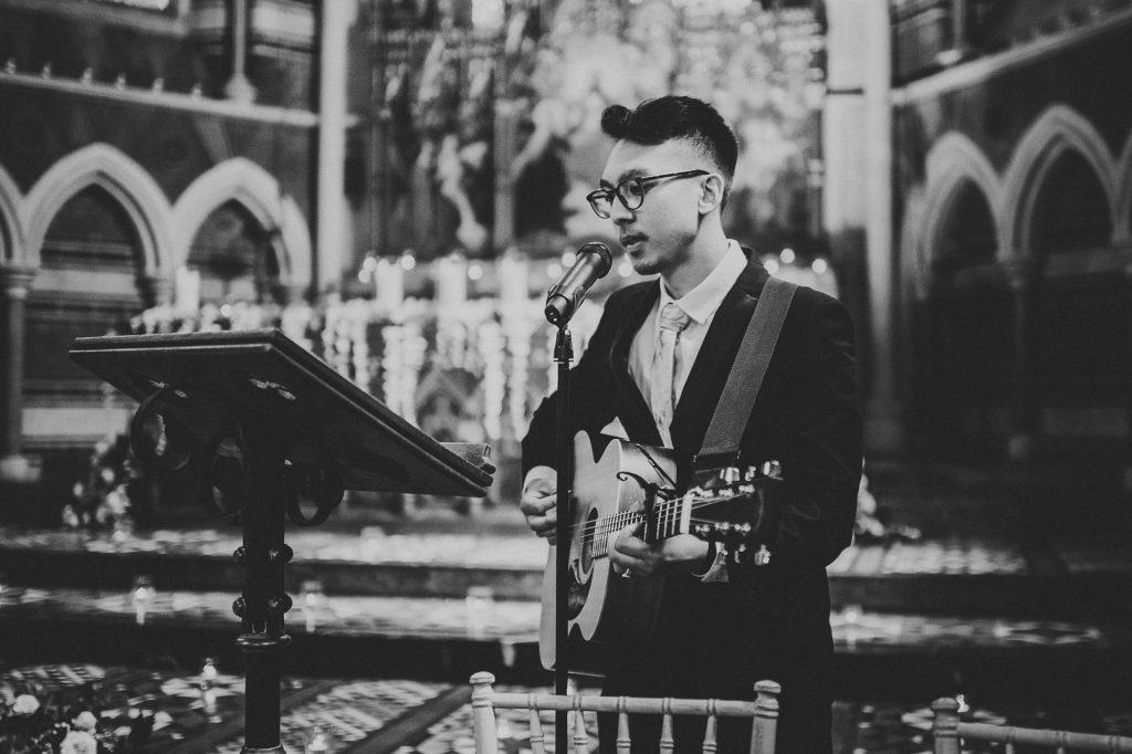 guitar player at wedding ceremony
