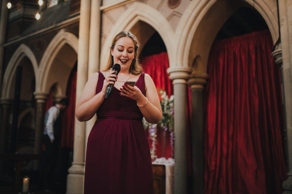 bridesmaid during her speech