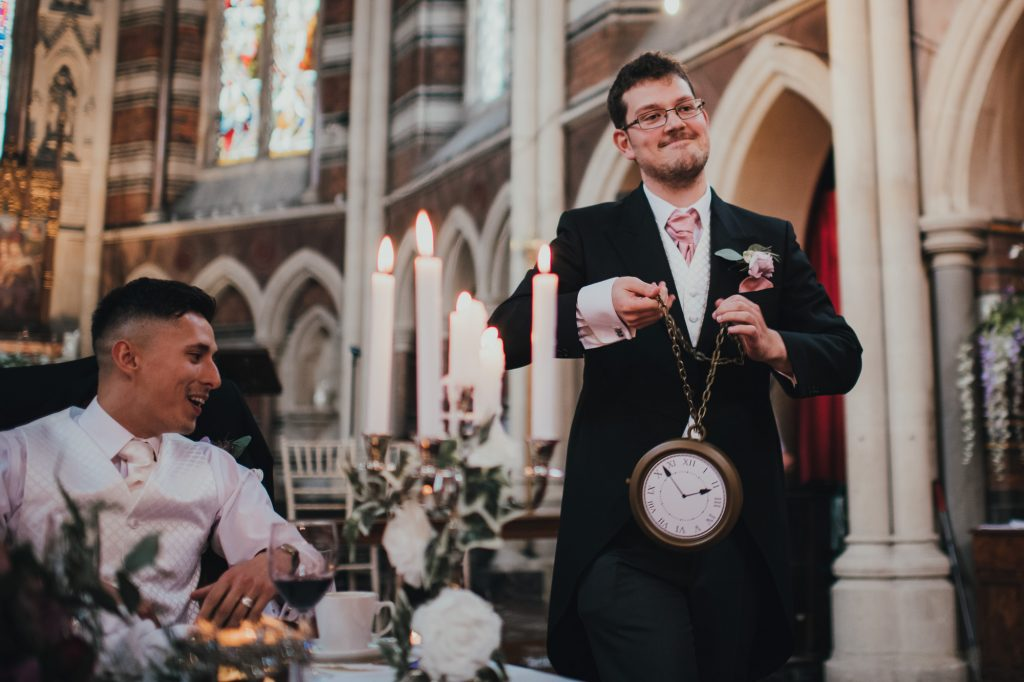best man with novelty clock