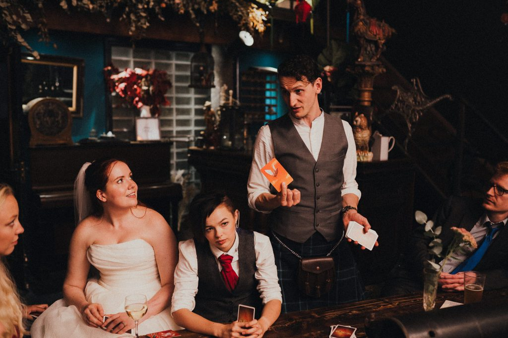 wedding guests playing board games
