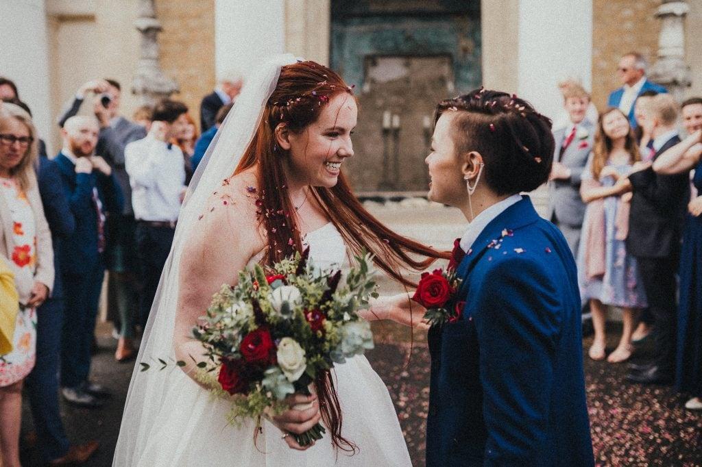 brides emotional after confetti