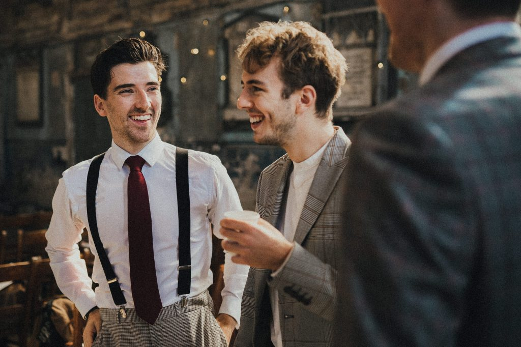guests laughing after ceremony