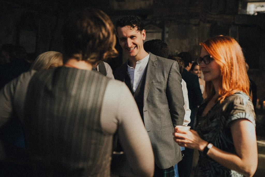 guest laughs during reception