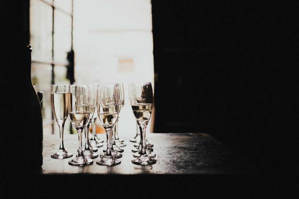 champagne glasses on the bar