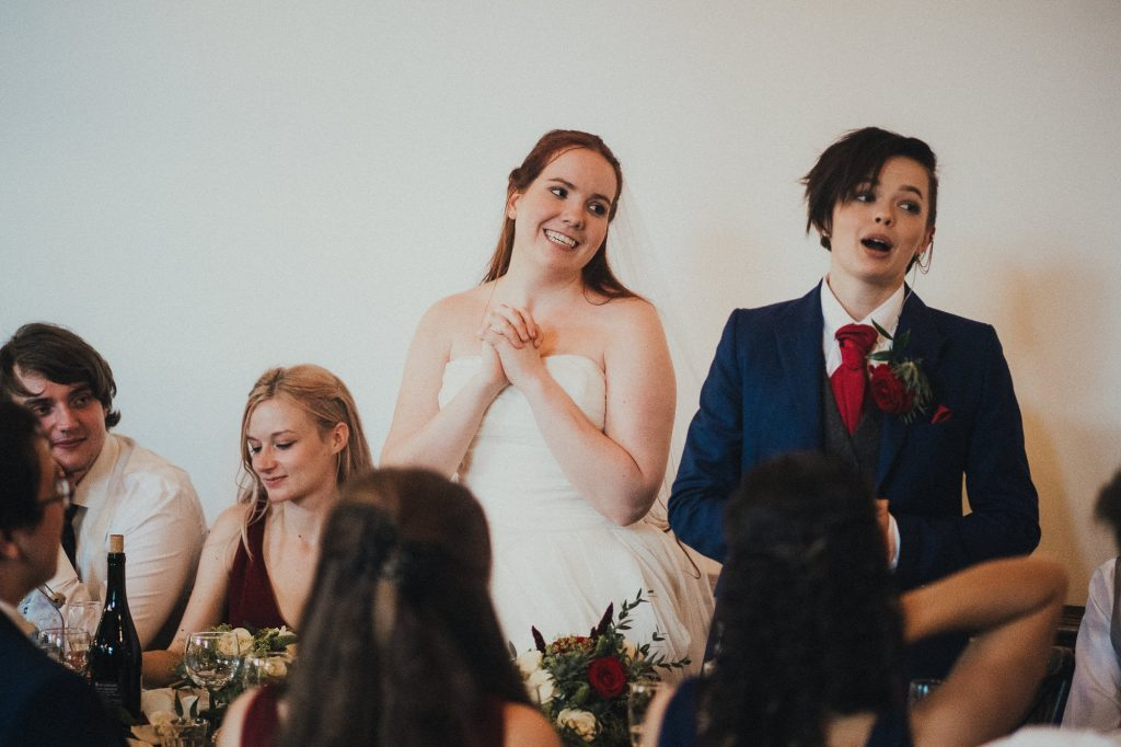 brides doing a speech