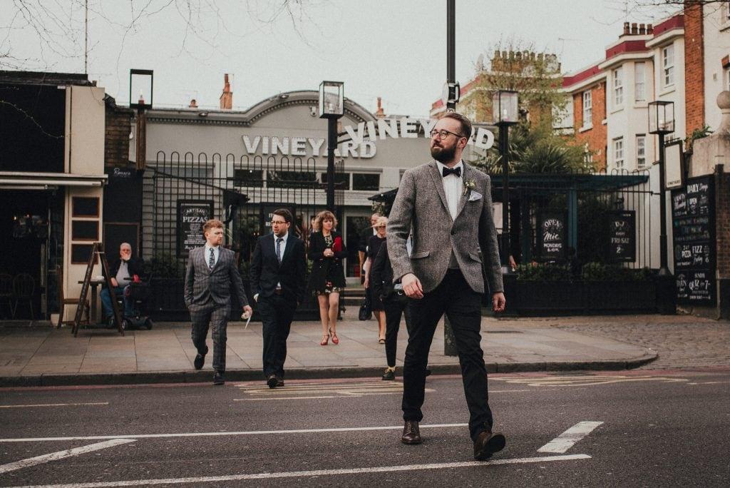 groom crossing the road