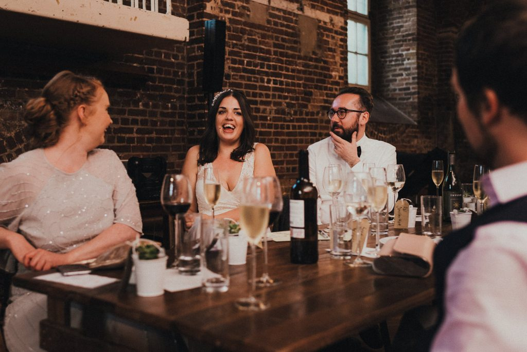 bride reacts to speech
