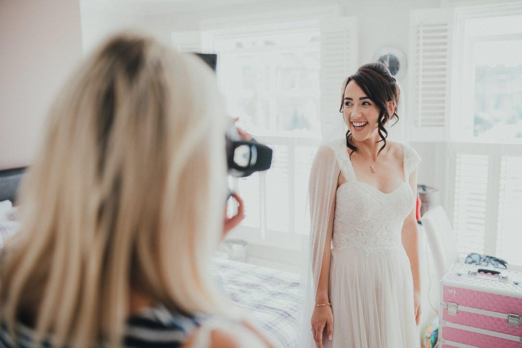 bride having her picture taken