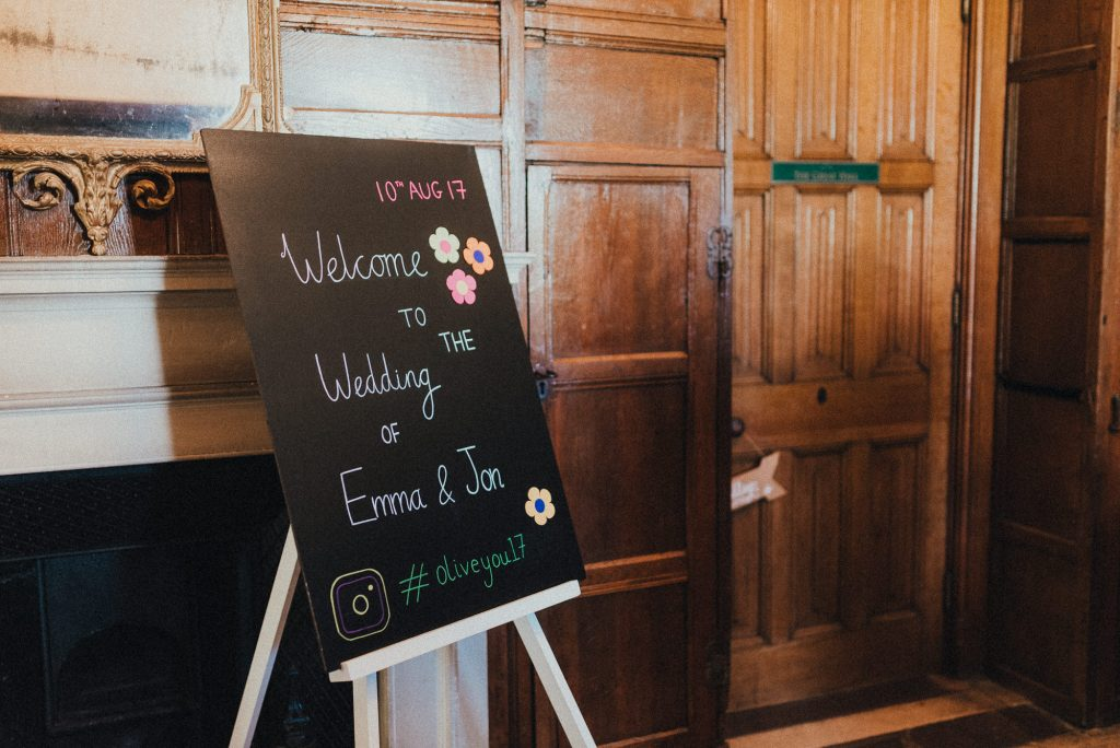sign greeting wedding guests
