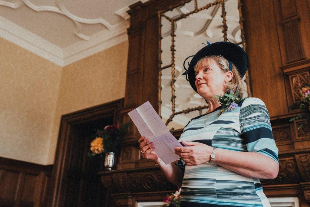 groom's mum doing a reading