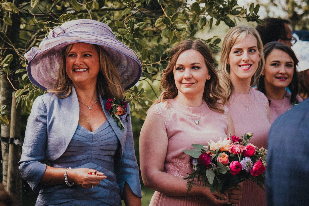 mother of the bride and bridesmaids before conftetti