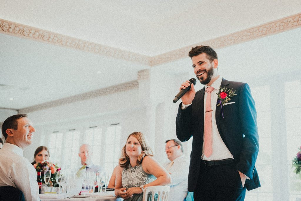 the other best man giving his speech